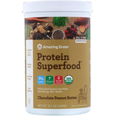 Amazing Grass Protein Superfood, шоколад и арахисовая паста, 430 г (15,1 унции)
