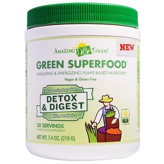 Amazing Grass, Superalimentos verdes, Desintoxicantes y Digestivos, 7,4 oz (210 g)