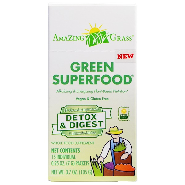 Amazing Grass, Green Superfood, Detox & Digest, 15 Packets, 0.25 oz (7 g) Each (Discontinued Item)