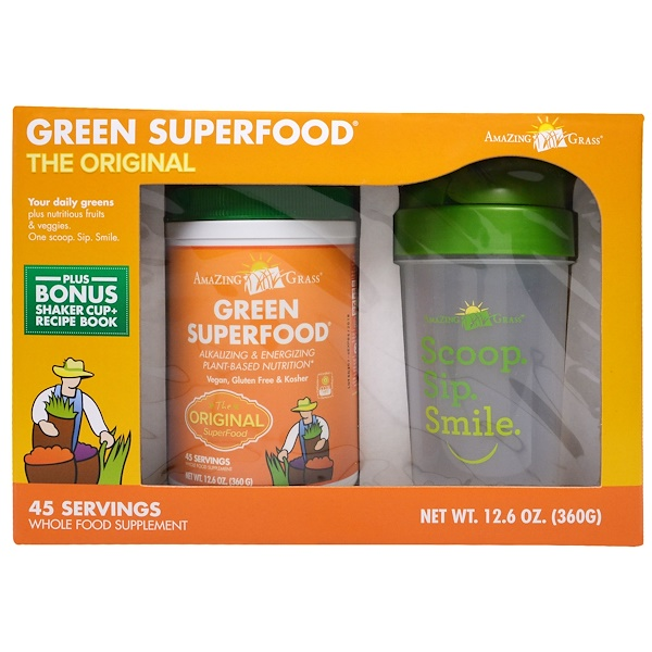 Amazing Grass, Green Superfood, Original, With Bonus Shaker Cup, 12.6 oz (360 g) (Discontinued Item)