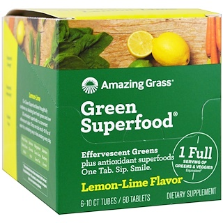 Amazing Grass, Green Superfood, Effervescent Greens, Lemon-Lime Flavor, 6 Tubes, 10 Tablets Each