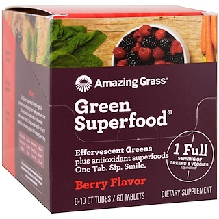 Amazing Grass, Green Superfood, Effervescent Greens, Berry Flavor, 6 Tubes, 10 Tablets Each