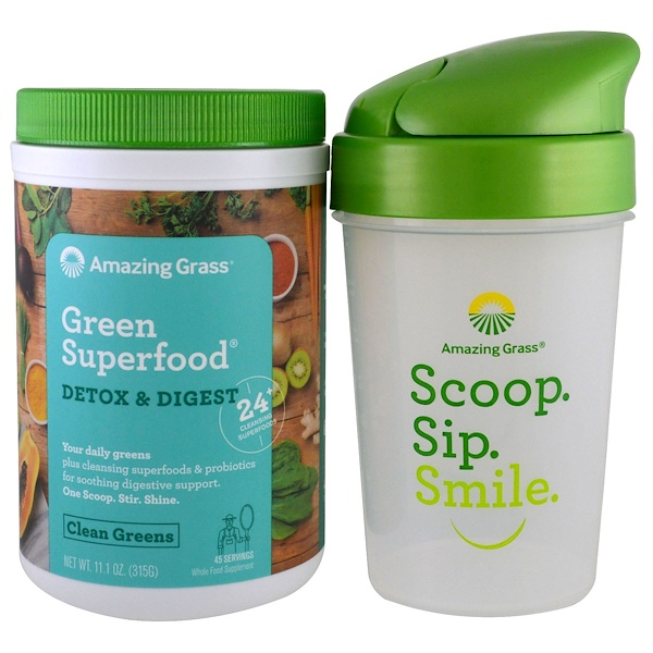 Amazing Grass, Green Superfood, Detox Digest & Shaker Gift Set, 2 Piece Set