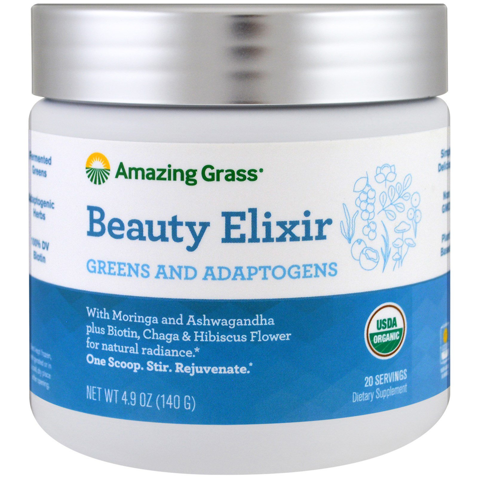 Amazing Grass, Beauty Elixir, Greens And Adaptogens, 4 9 oz