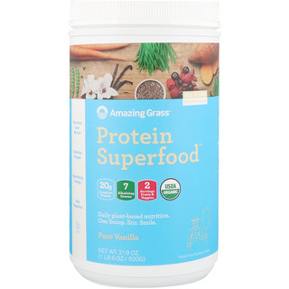 Amazing Grass, Protein Superfood, Pure Vanilla, 1.37 lbs (620 g)