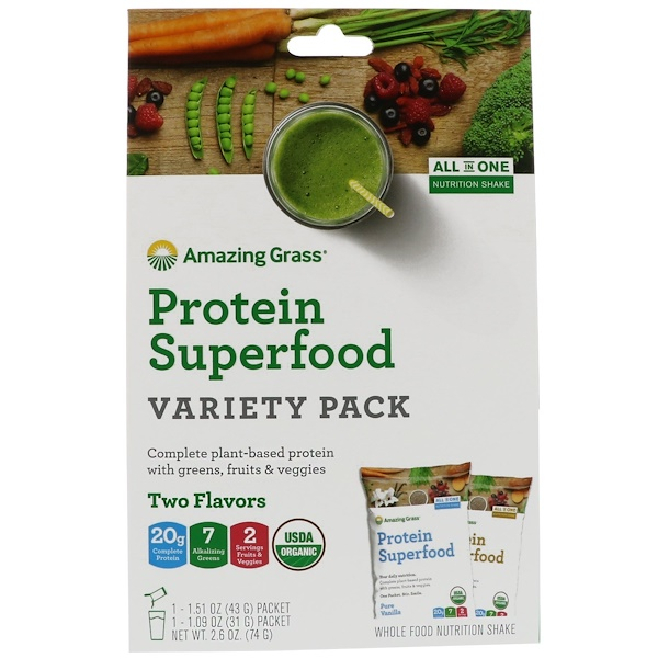 Amazing Grass, Protein Superfood Variety Pack, Two Flavors, Chocolate Peanut Butter & Pure Vanilla (Discontinued Item)