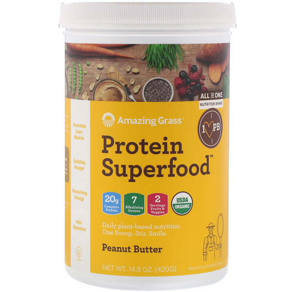 Amazing Grass, Protein Superfood, Peanut Butter, 14.8 oz (420 g)
