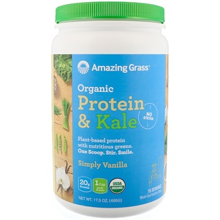 Amazing Grass, Organic Protein & Kale, Plant Based, Simply Vanilla, 17.5 oz (495 g)