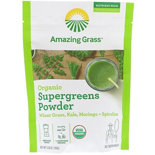 Amazing Grass, Organic SuperGreens Powder, 5,29 унц. (150 г)