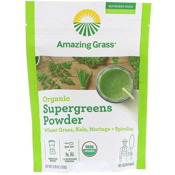 Organic SuperGreens Powder, 5.29 oz (150 g)