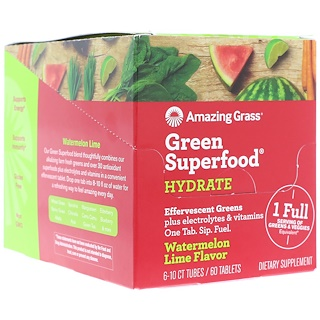 Amazing Grass, Green Superfood, Effervescent Greens Hydrate, Watermelon Lime Flavor, 6 Tubes, 10 Tablets Each