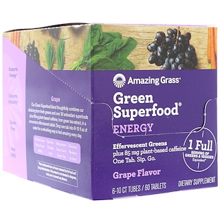 Amazing Grass, Green Superfood, Effervescent Greens Energy, Grape Flavor, 6 Tubes, 10 Tablets Each