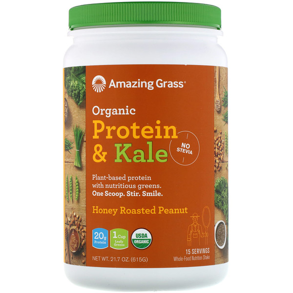 Amazing Grass, Organic Protein & Kale, Plant Based, Honey Roasted Peanut, 21.7 oz (615 g) (Discontinued Item)