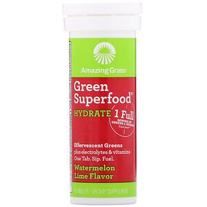 Амайзинг Грас, Green Superfood, Effervescent Greens Hydrate, Watermelon Lime Flavor, 10 Tablets отзывы