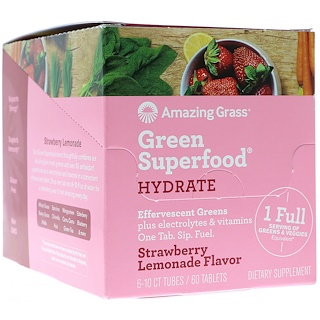 Amazing Grass, Green Superfood, Effervescent Greens Hydrate, Strawberry Lemonade Flavor, 6 Tubes, 10 Tablets Each