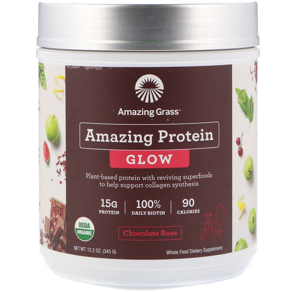 Organic Amazing Protein with Biotin, Glow, Chocolate Rose, 12.2 oz (345 g)
