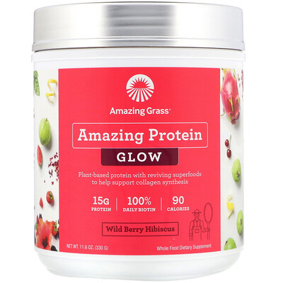 Купить Amazing Grass Organic Amazing Protein, Glow, Wild Berry Hibiscus, 11.6 oz (330 g)