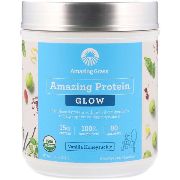 Organic Amazing Protein with Biotin, Glow, Vanilla Honeysuckle, 11.1 oz (315 g)