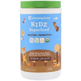 Amazing Grass, キッズ・スーパーフード、タンパク質+プロバイオティクス、エクストリーム・チョコレート、10オンス(285g)