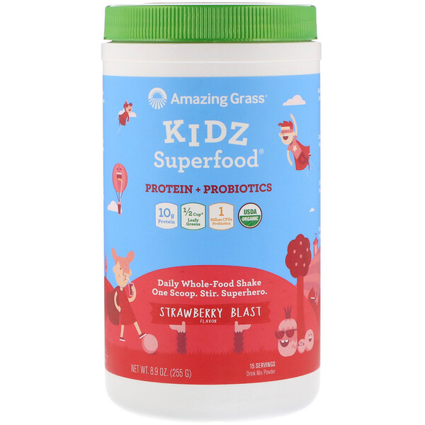 Amazing Grass, Kidz Superfood, Protein + Probiotics, Strawberry Blast, 8.9 oz (255 g)