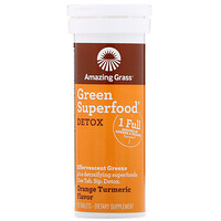 Amazing Grass, Green Superfood, Effervescent Greens Detox, Orange Turmeric Flavor, 10 Tablets