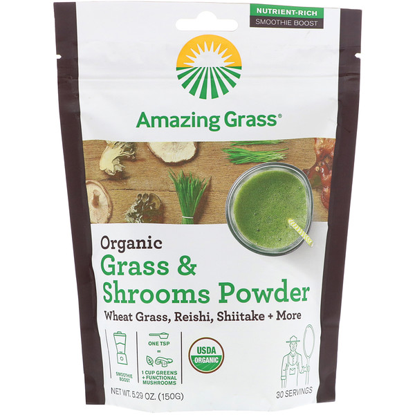 Amazing Grass, Organic Grass & Shrooms Powder, 5.29 oz (150 g)