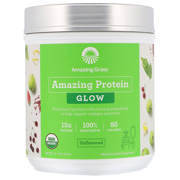 Amazing Grass, Organic Amazing Protein with Biotin, Glow, Unflavored, 11.1 oz (315 g)