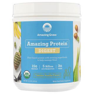 Amazing Grass, Amazing Protein, Digest, 5milliards d'UFC, parfum vanille de Tahiti, 375g
