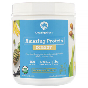Amazing Grass, Amazing Protein, Digest, Tahitian Vanilla Flavor, 5 Billion CFU, 13.2 oz (375 g)