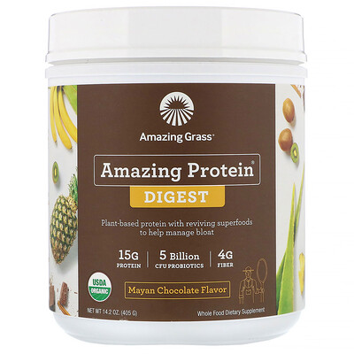 Amazing Grass Amazing Protein, «Здоровое пищеварение», со вкусом шоколада майя, 5млрд КОЕ, 405г