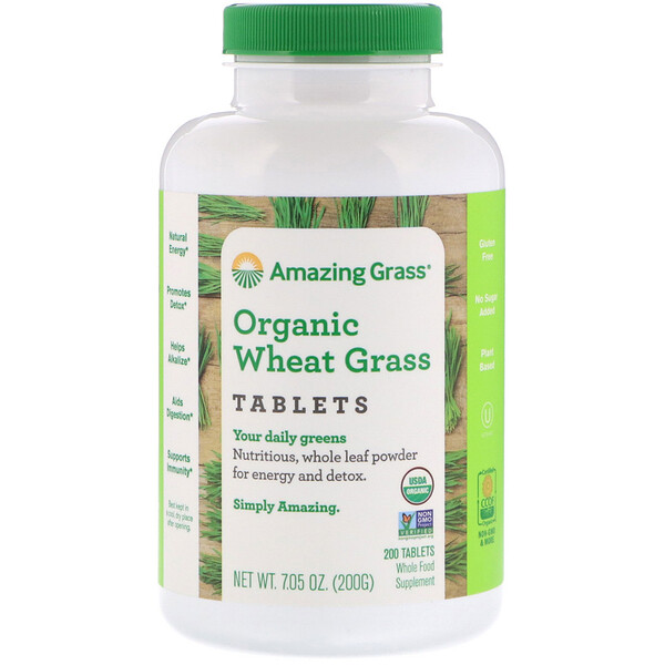 Amazing Grass, Organic Wheat Grass Tablets, 200 Tablets