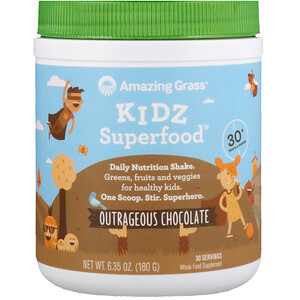Амайзинг Грас, Kidz Superfood, Outrageous Chocolate, 6.35 oz (180 g) отзывы покупателей