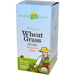 Amazing Grass, Organic Wheat Grass, Whole Food Drink Powder, 15 Individual Packets, 8 g Each