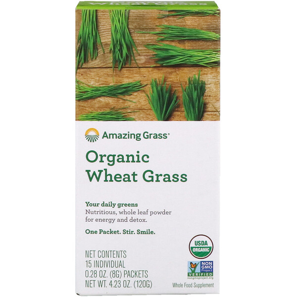 Amazing Grass, Organic Wheat Grass, 15 Individual Packets,  0.28 oz (8 g) Each