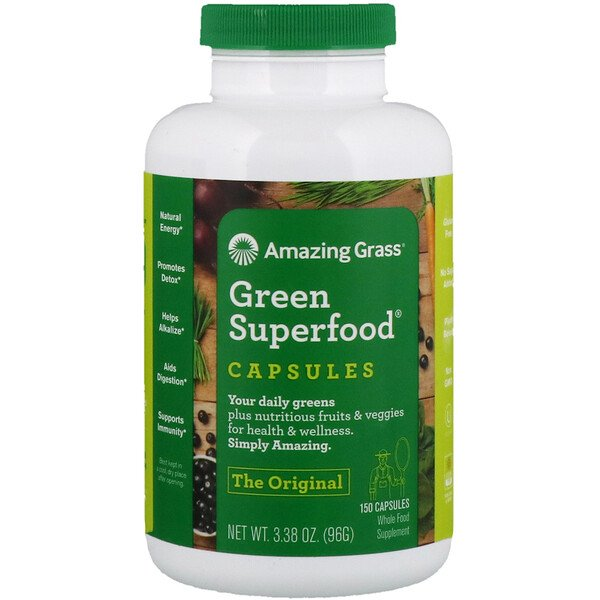 Amazing Grass, Superfood Vert, 650 mg, 150 Gélules
