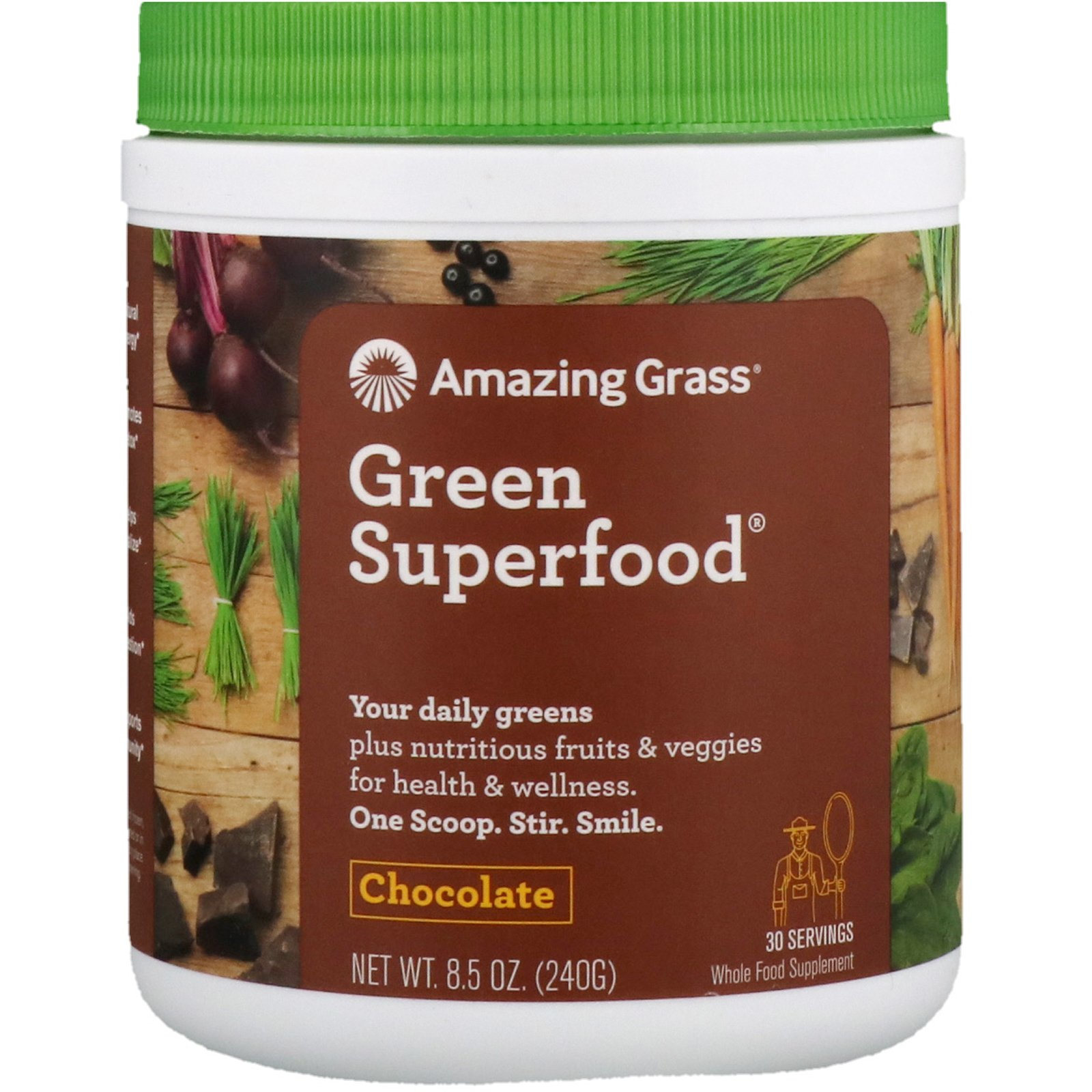 Details About Amazing Grass Green Superfood Chocolate Drink Powder 8 5 Oz 240 G All Natural
