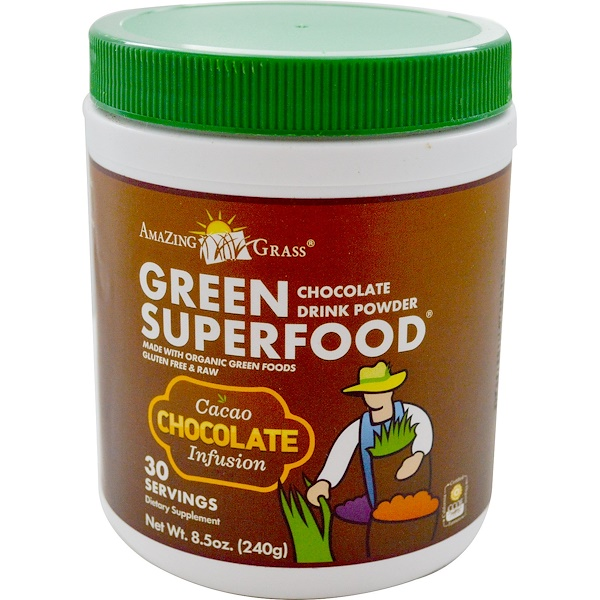 Amazing Grass, Green Superfood, Chocolate Drink Powder, 8.5 oz (240 g)