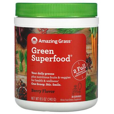 Купить Amazing Grass Green Superfood®, смесь из суперпродуктов с ягодным вкусом, 240 г (8, 5 унции)