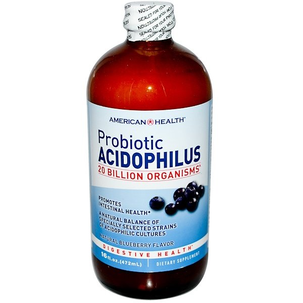 American Health, Probiotic Acidophilus, Natural Blueberry Flavor, 16 fl oz (472 ml)