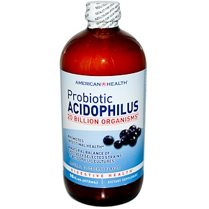 Американ Хелс, Probiotic Acidophilus, Natural Blueberry Flavor, 16 fl oz (472 ml) отзывы