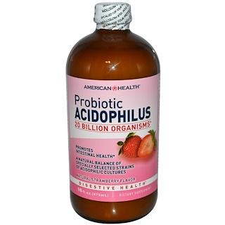 American Health, Probiotic Acidophilus, Natural Strawberry flavor, 16 fl oz (472 ml)