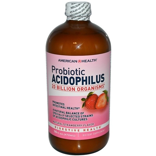 American Health, Probiotic Acidophilus, Natural Strawberry flavor, 16 fl oz (472 ml)