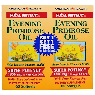American Health, Royal Brittany、Evening Primrose Oil、1300 mg, 2 Bottles、60 Softgels Each