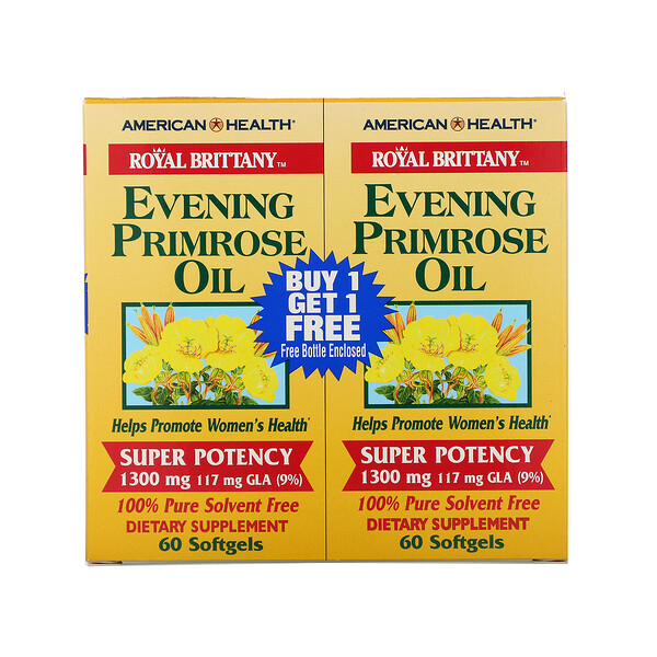 Royal Brittany, Evening Primrose Oil, 1300 mg, 2 Bottles, 60 Softgels Each