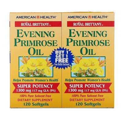 Купить American Health Royal Brittany, масло примулы вечерней (EPO), 1300 мг, 2 флакона, 120 желатиновых капсул в каждом флаконе