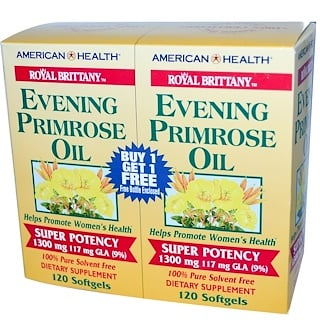 American Health, Royal Brittany, Evening Primrose Oil, 1300 mg, 2 Bottles, 120 Softgels Each