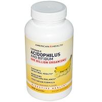 Chewable Acidophilus and Bifidum, Натуральный вкус банана, 100 пастилок - фото