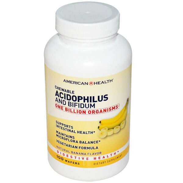 American Health, Chewable Acidophilus and Bifidum, Natural Banana Flavor, 100 Wafers (Discontinued Item)