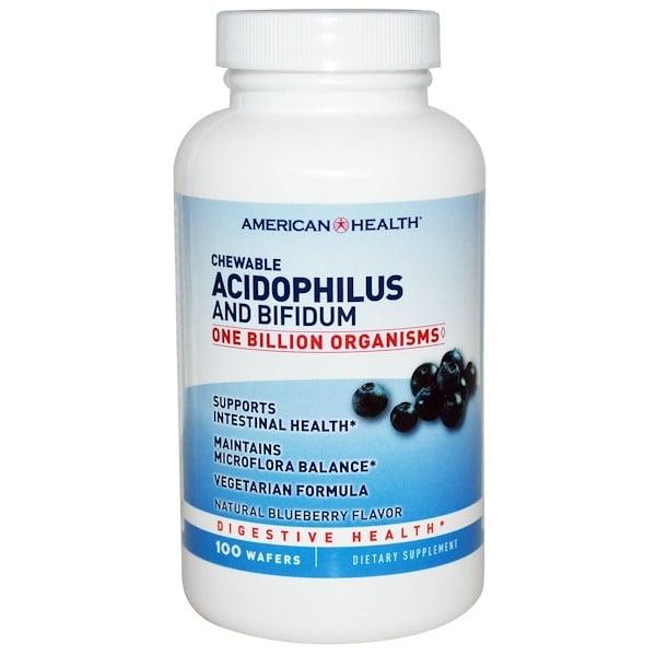 American Health, Ацидофилус и Бифидус в жевательной форме, натуральный вкус черники, 100 пластинок (Discontinued Item)