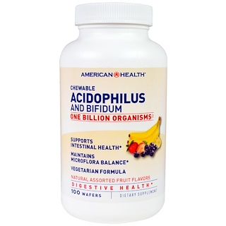 American Health, Chewable Acidophilus And Bifidium, Natural Assorted Fruit Flavors, 100 Wafers
